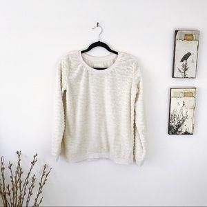 ZARA Cream Textured Faux Fur Sweatshirt pullover